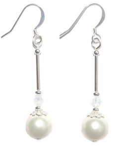 Silver Plated and Faux Pearl Filigree Drop Earrings